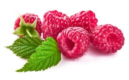 Raspberry berries with green leaf healthy food Stock Images