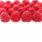 Raspberry berries isolated on white. Natural raspberry berries isolated on white background. copy space Royalty Free Stock Image