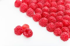 Raspberry berries isolated on white. Natural raspberry berries isolated on white background. copy space Royalty Free Stock Photo