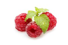 Raspberry berries isolated on white. Natural raspberry berries with mint leaf isolated on white background. copy space Royalty Free Stock Photography