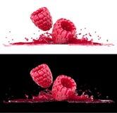 Raspberry berries in splash of juice Stock Image