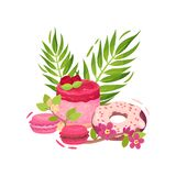 Raspberry berry cake, two muffins and a chocolate donut in pink icing. Vector illustration on white background. Raspberry berry cake, two muffins and a stock illustration