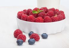 Raspberry bilberry in white bowls and milk. Raspberry and bilberry in white bowls and milk Royalty Free Stock Photo