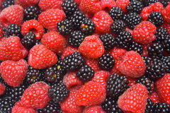 Raspberry and blackberry background Stock Photography