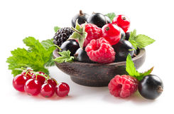 Raspberry, blackberry and black currant on white background. Raspberry, blackberry and black currant isolated on white background Stock Photos
