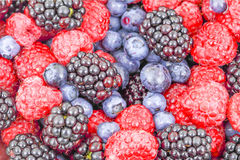 Raspberry, blackberry and blueberry use for background Stock Photo
