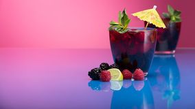 Raspberry and blackberry cocktail with mint garnish. Royalty Free Stock Images