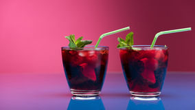 Raspberry and blackberry cocktail with mint garnish. Stock Images