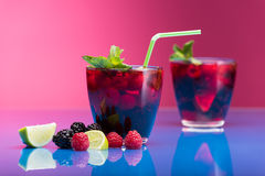 Raspberry and blackberry cocktail with mint garnish. Royalty Free Stock Image