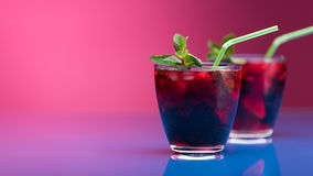 Raspberry and blackberry cocktail with mint garnish. Studio shot Royalty Free Stock Image