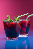 Raspberry and blackberry cocktail with mint garnish. Studio shot Royalty Free Stock Photos