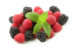 Raspberry and blackberry fruit isolated Royalty Free Stock Photos