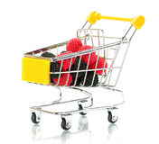 Raspberry blackberry fruit in the shopping cart Stock Photography