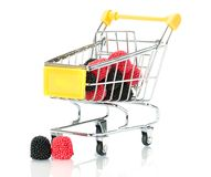 Raspberry blackberry fruit in the shopping cart Royalty Free Stock Photography