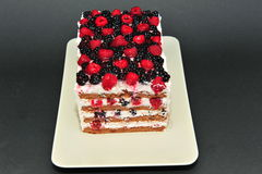 Raspberry and blackberry homemade cake Royalty Free Stock Photos