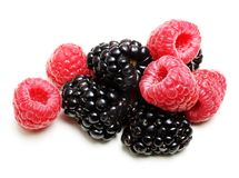 Raspberry and Blackberry Isolated Royalty Free Stock Photos