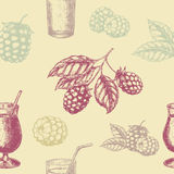 Raspberry blackberry and milkshakes seamless pettern. Stock Image