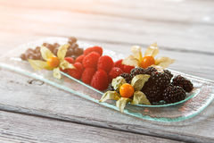 Raspberry and blackberry on plate. Royalty Free Stock Photography