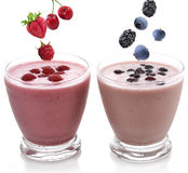 Raspberry And Blackberry Smoothie Stock Photography