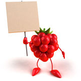 Raspberry with a blank sign Royalty Free Stock Images