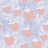 Raspberry on blue background. Sketch, seamless pattern. Vector Royalty Free Stock Photo