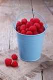 Raspberry. In a blue bucket on wooden table Royalty Free Stock Images