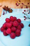 Raspberry on blue plate Royalty Free Stock Image