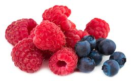 Raspberry and blueberries isolated on white background.  Royalty Free Stock Photography