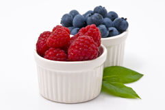 Raspberry and Blueberry. In White Bowl stock image