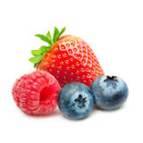 Raspberry and blueberry isolated Royalty Free Stock Photos