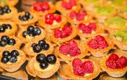 Raspberry Blueberry and Kiwi Tarts Stock Photography