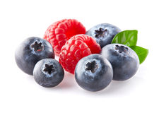Raspberry with blueberry Royalty Free Stock Photography