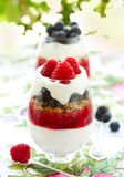 Raspberry and blueberry parfait Stock Photography