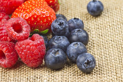 Raspberry, blueberry and strawberry. Health berries on jute sheet background Stock Image