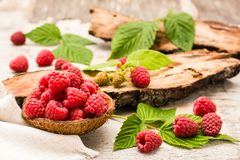 Raspberry in a bowl, berries and leaves on a shabby  wood. En table Royalty Free Stock Photo