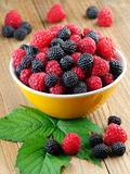 Raspberry in bowl. On wooden background Royalty Free Stock Photos
