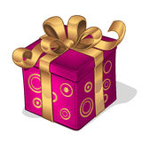 Raspberry box with gold ribbon royalty free stock photo