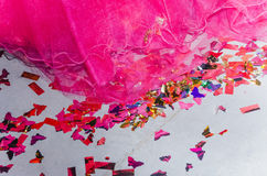 Raspberry bride - hem, and confetti on the floor Stock Image