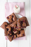 Raspberry brownie stuffed with cheesecake, top view Stock Image