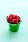 Raspberry in a bucket Stock Image