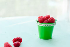 Raspberry in a bucket. Fresh ripe raspberry in small bucket Royalty Free Stock Images