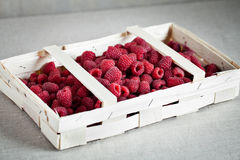 Raspberry on the bucket. Ripe Raspberry on the table Stock Photo