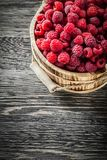 Raspberry in bucket on vintage wooden board.  Stock Images
