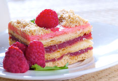 Raspberry cake. Raspberry layer cake with fresh fruits Stock Images