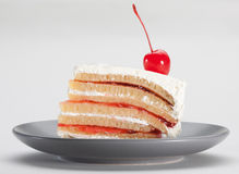 Raspberry slice cake isolated  Royalty Free Stock Images