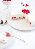 Raspberry cake. Close up of raspberry cake over white plate Stock Image
