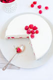 Raspberry cake. Close up of raspberry cake over white plate Royalty Free Stock Photography
