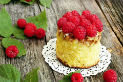 Raspberry cake close-up. Delicious raspberry cake close-up Royalty Free Stock Image
