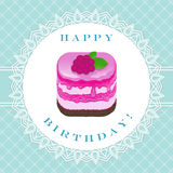 Raspberry cake with congratulations to happy birthday Royalty Free Stock Photo