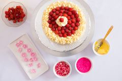 Raspberry cake. And cake decorations around it, view from above Stock Image